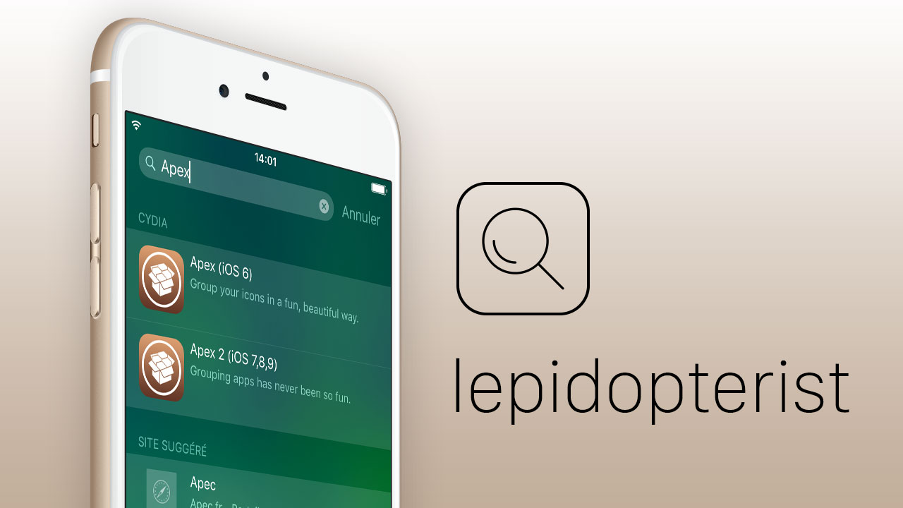 Miniature 3 [Vidéo] Lepidopterist : recherche de tweaks Cydia depuis Spotlight