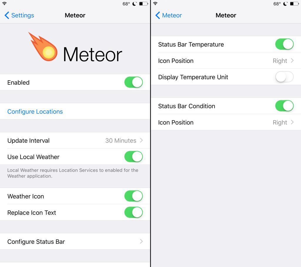 meteor tweak Cydia : consulter la météo directement depuis le SpringBoard