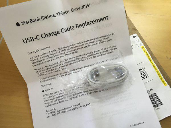 remplacement USB C Apple a commencé à expédier les cables USB C de remplacement