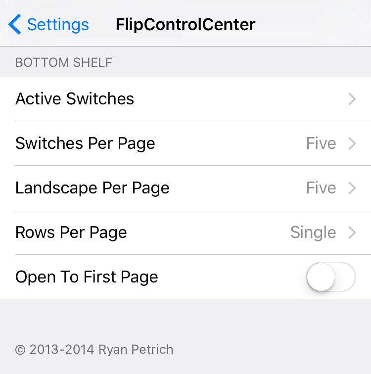 FlipControlCenter 1 Cydia : NightShift pour les versions antérieures à iOS 9.3