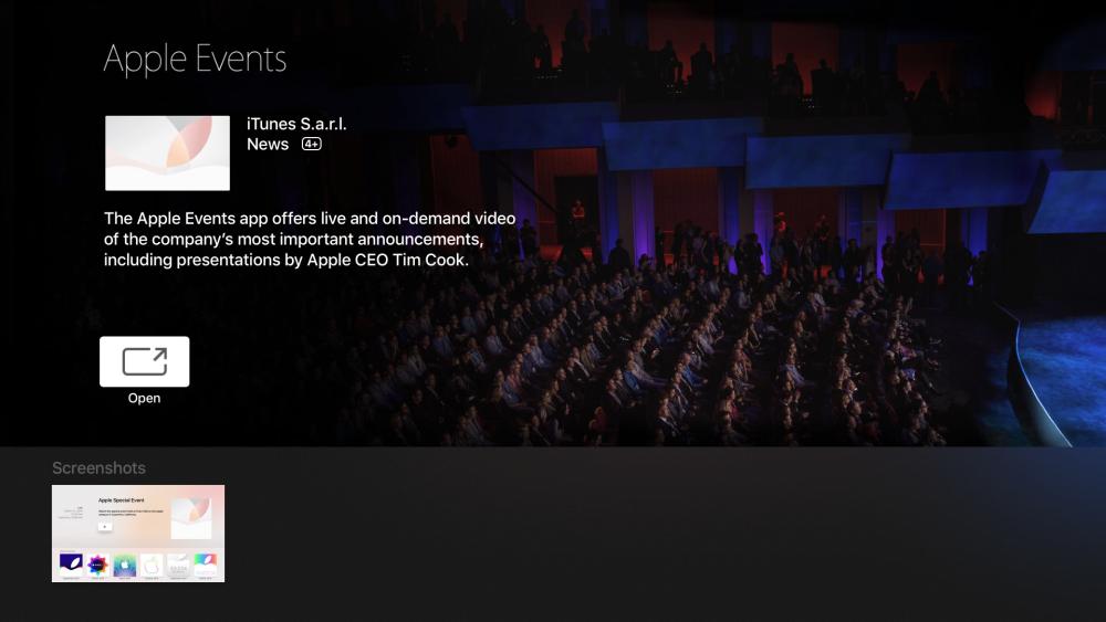 apple events application Apple TV 4 : une application pour suivre le keynote en direct