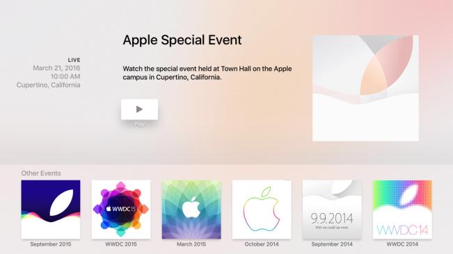 apple tv 4 apple events e1458210415866 Apple TV 4 : une application pour suivre le keynote en direct