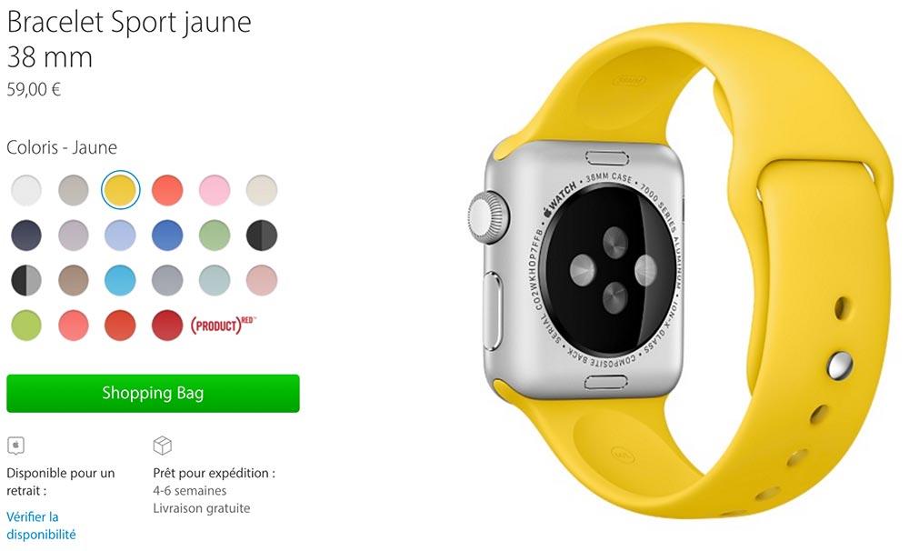 bracelet sport jaune Les nouveaux bracelets Apple Watch disponibles au retrait en magasin