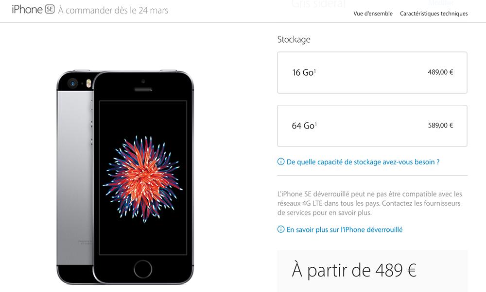prix iphone se LiPhone SE se vend à prix dor à lextérieur des États Unis