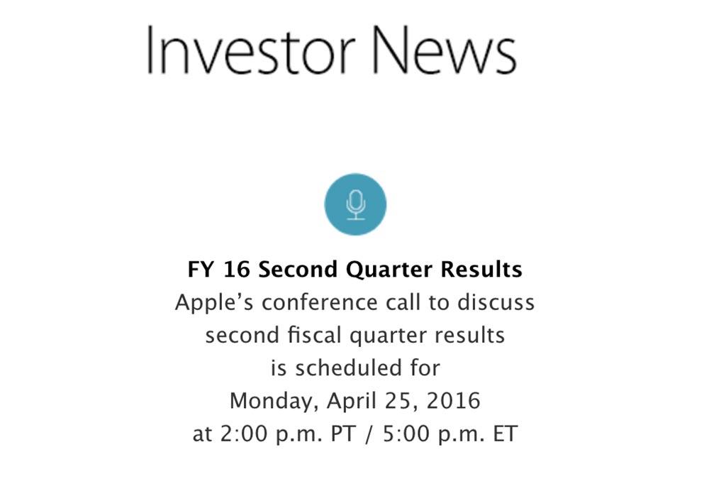 resultats financiers apple conference 2016 Résultats financiers : Apple annonce sa prochaine conférence pour le 25 avril