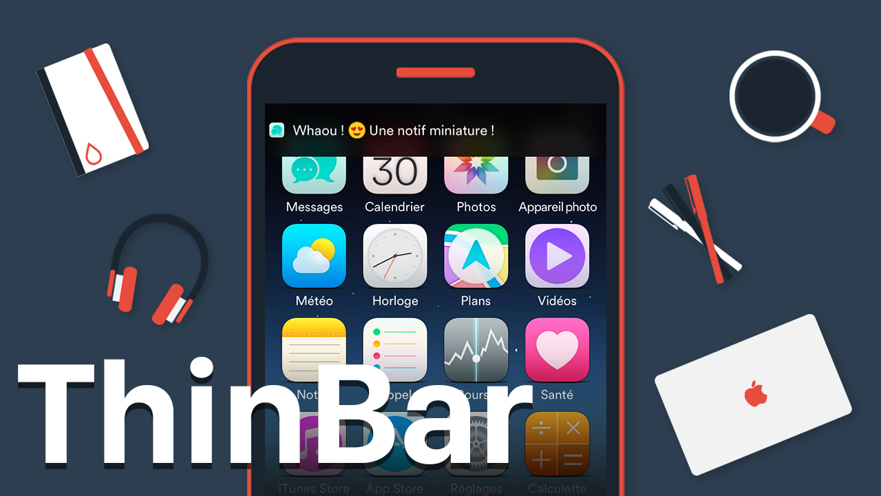 Miniature [Cydia] ThinBar : les bannières de notifications iOS plus discrètes !