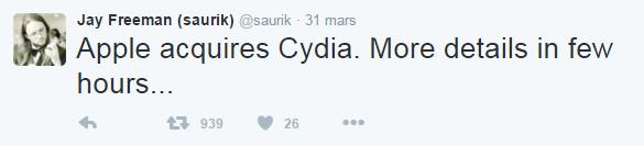 Saurik apple Apple rachète Cydia pour fêter son 40e anniversaire !