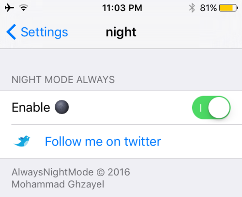 alwaysnightmode 1 500x406 Cydia : laisser Plans en mode nuit grâce à AlwaysNightMode