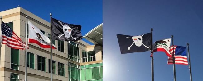 drapeau pirate e1459505135710 Pour ses 40 ans, Apple hisse un drapeau pirate devant son QG