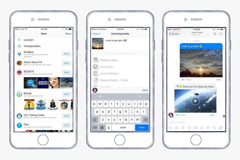 facebook messenger dropbox Facebook Messenger iOS peut envoyer directement des fichiers de votre Dropbox