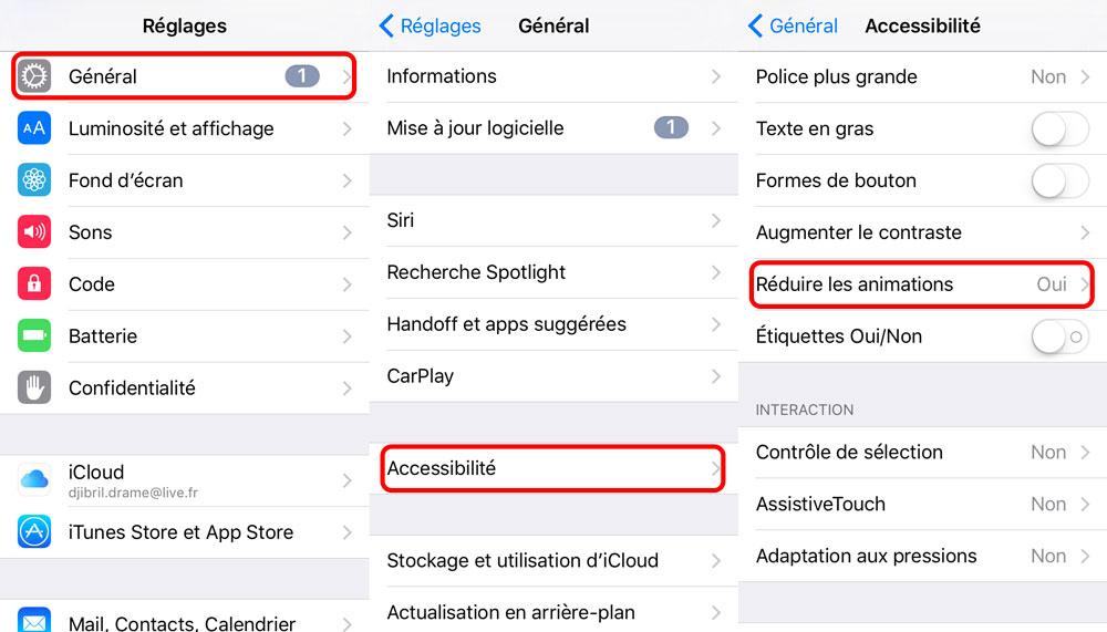 reglages desactiver animations [Tutoriel] Comment complètement désactiver les animations iOS sans jailbreak