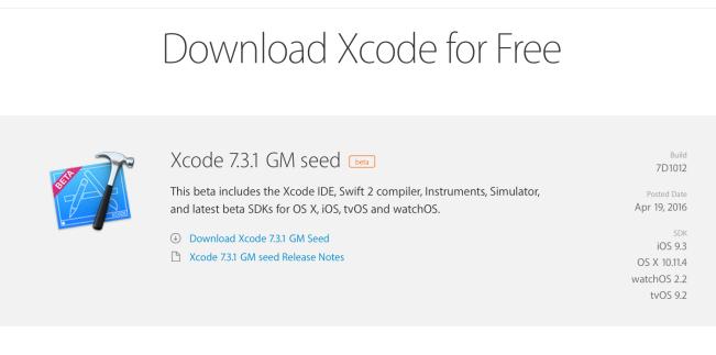 xcode 7 3 e1461093983520 Xcode 7.3.1 GM est disponible pour les développeurs