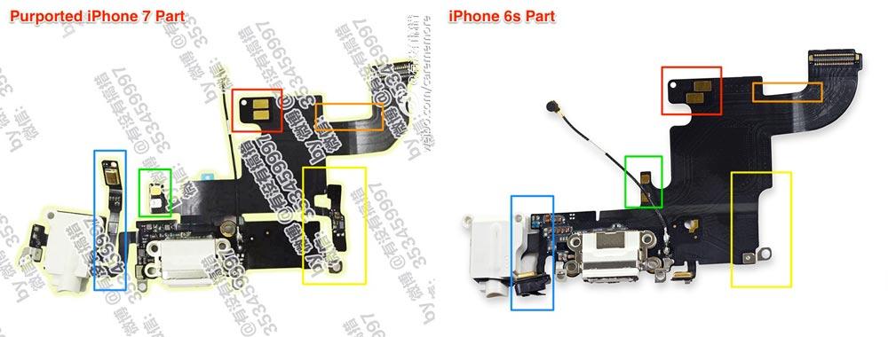 Jack iPhone7 vs iPhone6s HighLights Rumeur : une photo de la prise Jack de liPhone 7 fuite