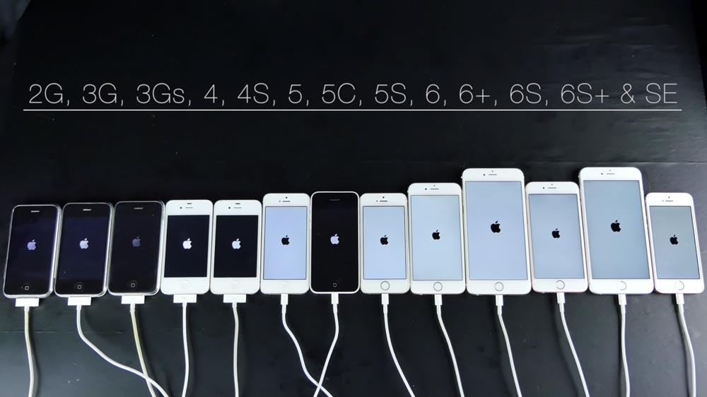 comparatif iphone 2007 2016 [Vidéo] Speed test : de liPhone 2G à liPhone SE