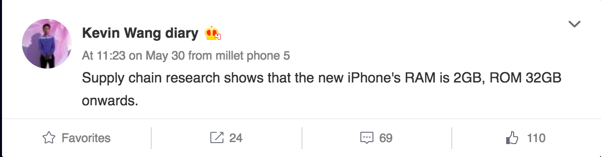 kevin wang weibo ihs iPhone 7 : 32 Go de stockage et 2 Go RAM pour lentrée de gamme