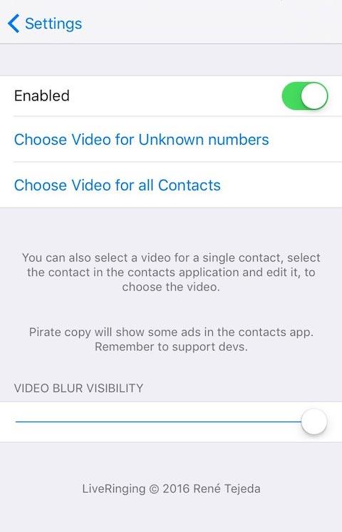 liveringing preferences 1 [Cydia] Des sonneries vidéos pour iOS avec LiveRinging !