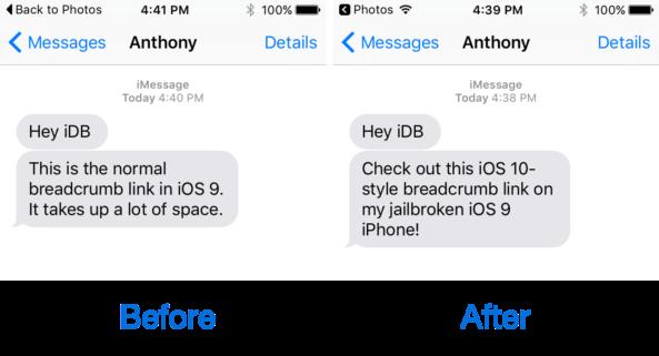 Breadcrumb10 Cydia : Breadcrumb10 vous permet dutiliser les liens Breadcrumb iOS 10