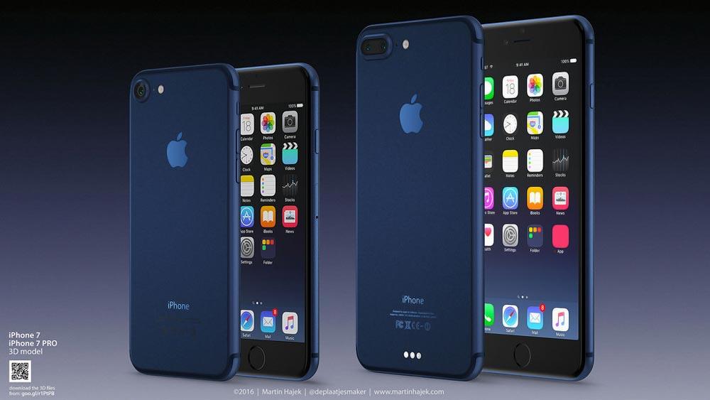 iphone 7 bleu fonce Martin Hajek propose son concept diPhone 7 bleu profond