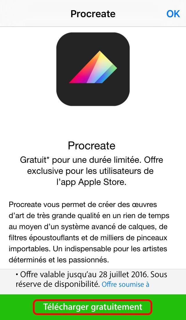 comment t l charger gratuitement procreate sur l app apple store appsystem. Black Bedroom Furniture Sets. Home Design Ideas