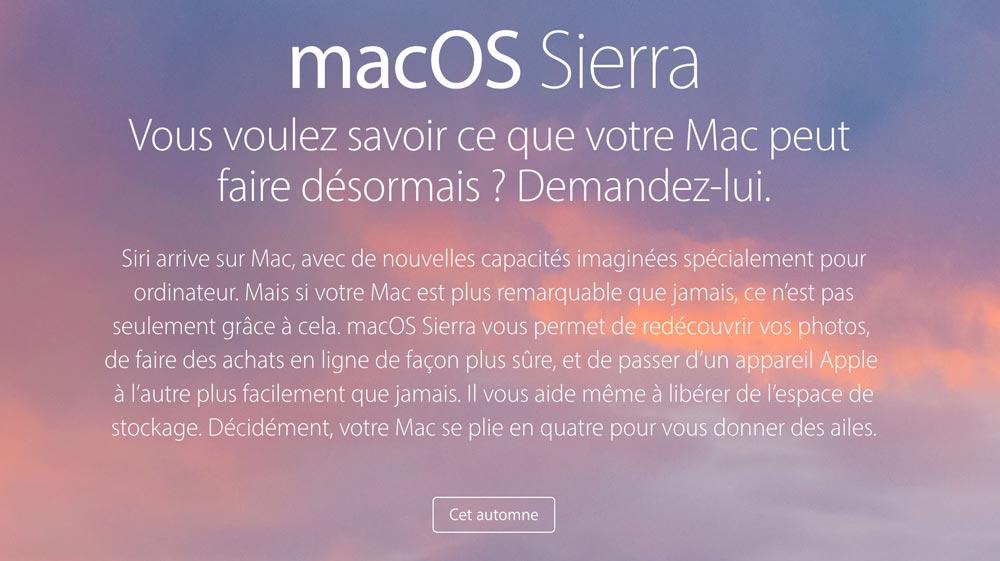 macos sierra Apple présente iOS 10 et macOS Sierra en français
