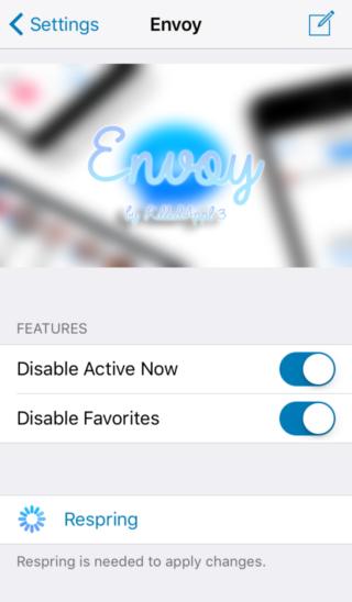 envoy 320x548 [Cydia] Envoy : supprimez les sections inutiles de Facebook Messenger