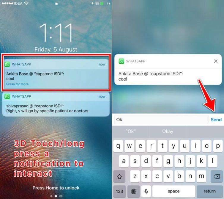 3D touch notifications 754x669 [Tutoriel] iOS 10 : utiliser les nouvelles fonctionnalités Lock Screen et Home Screen
