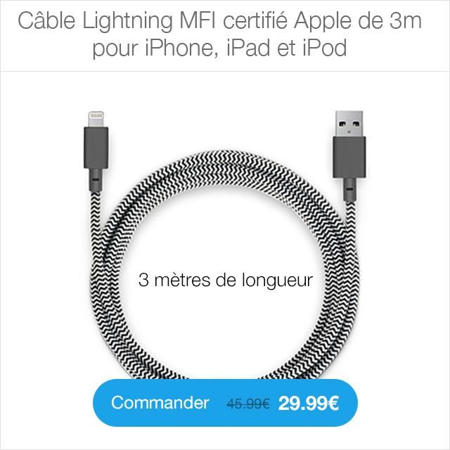 cable lightning 3m 4 CYBER MONDAY 24h sur la boutique ShopSystem (jusquà  50%)