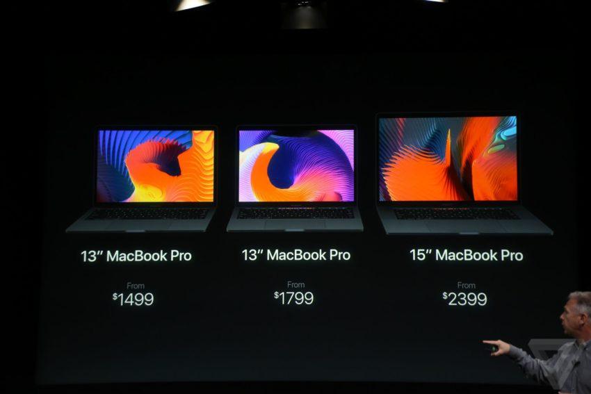 macbook pro prix 850x567 Bilan keynote : Apple TV, MacBook Pro, Touch Bar