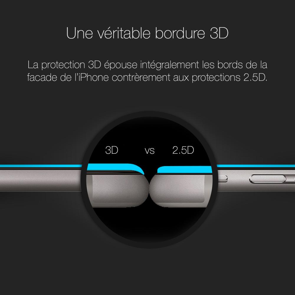 6 3 Protection décran iPhone 7 / 7 Plus intégrale 3D incurvée (ShopSystem)