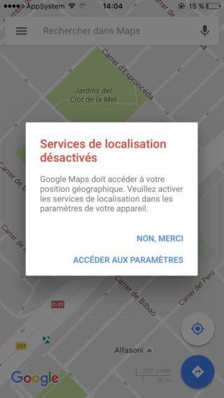 Google Maps Localisation 320x569 Cydia : désactiver lalerte du service de localisation de Google Maps