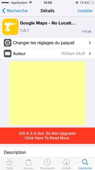 Google Maps Tweak 320x569 Cydia : désactiver lalerte du service de localisation de Google Maps