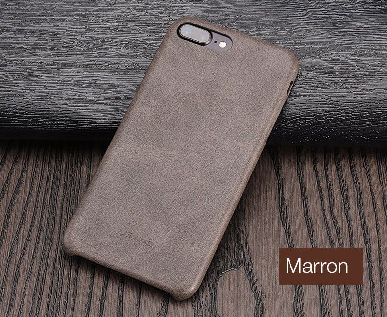 marron Coque en cuir pour iPhone 7 et 7 Plus (ShopSystem)