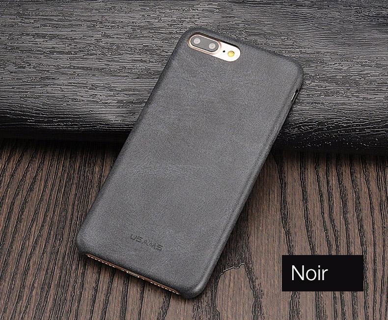 noir Coque en cuir pour iPhone 7 et 7 Plus (ShopSystem)