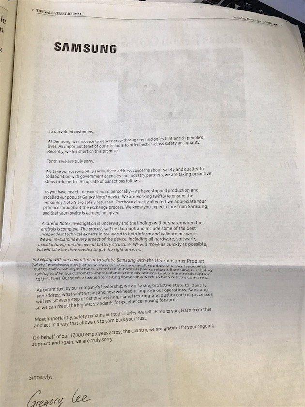 samsung excuses Galaxy Note 7 : à genoux, Samsung implore le pardon