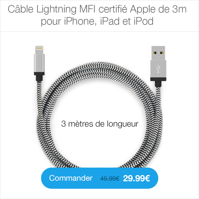 cable 3m 1 Coque iPhone 6/6S & 6/6S Plus : ultra fine avec protection de la caméra