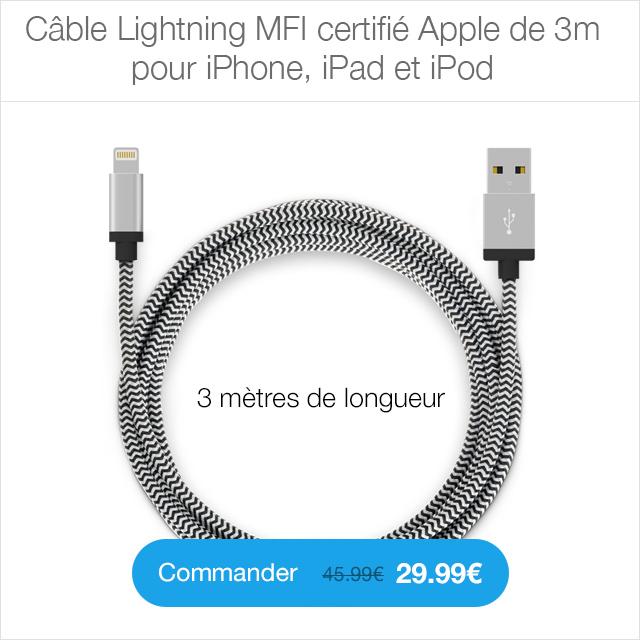 cable 3m 1 Protection décran iPhone 7 / 7 Plus intégrale 3D incurvée (ShopSystem)