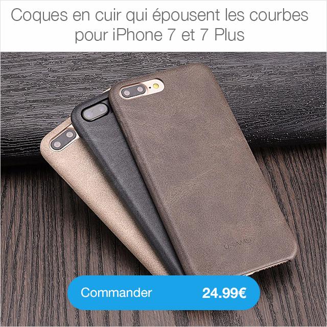 coque cuir Protection décran iPhone 7 / 7 Plus intégrale 3D incurvée (ShopSystem)