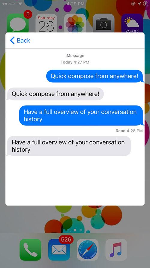 quick reply Columba, un tweak Cydia offrant une alternative à biteSMS