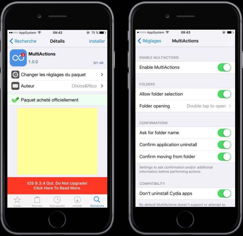 MultiActions reglages 850x826 [Cydia] : MultiActions, supprimer et déplacer plusieurs apps à la fois