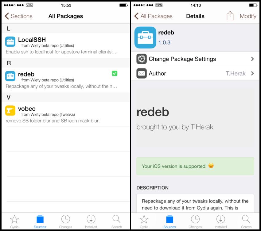 redeb 2 850x752 Redeb : sauvegarder les tweaks jailbreak sur votre iDevice