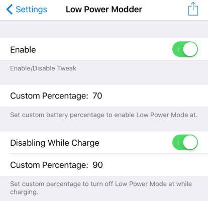 Low Power Modder Reglages Cydia : personnaliser lactivation et la désactivation du mode Économie dénergie
