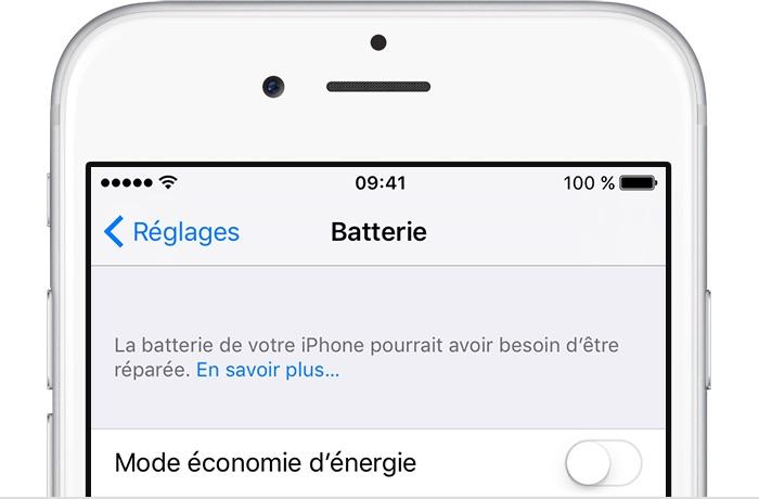 iOS 10 2 1 batterie message Astuce : comment vérifier si la batterie de votre iPhone mérite d'être remplacée