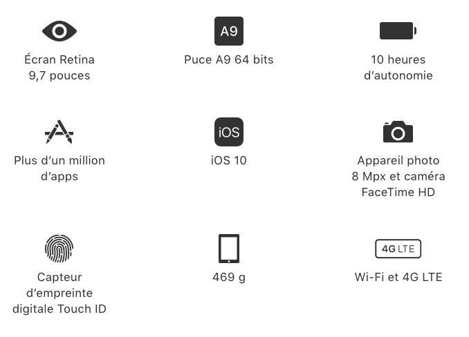 Caracteristiques iPad Un nouvel iPad de 9,7 pouces moins cher que liPad Air 2 dévoilé par Apple