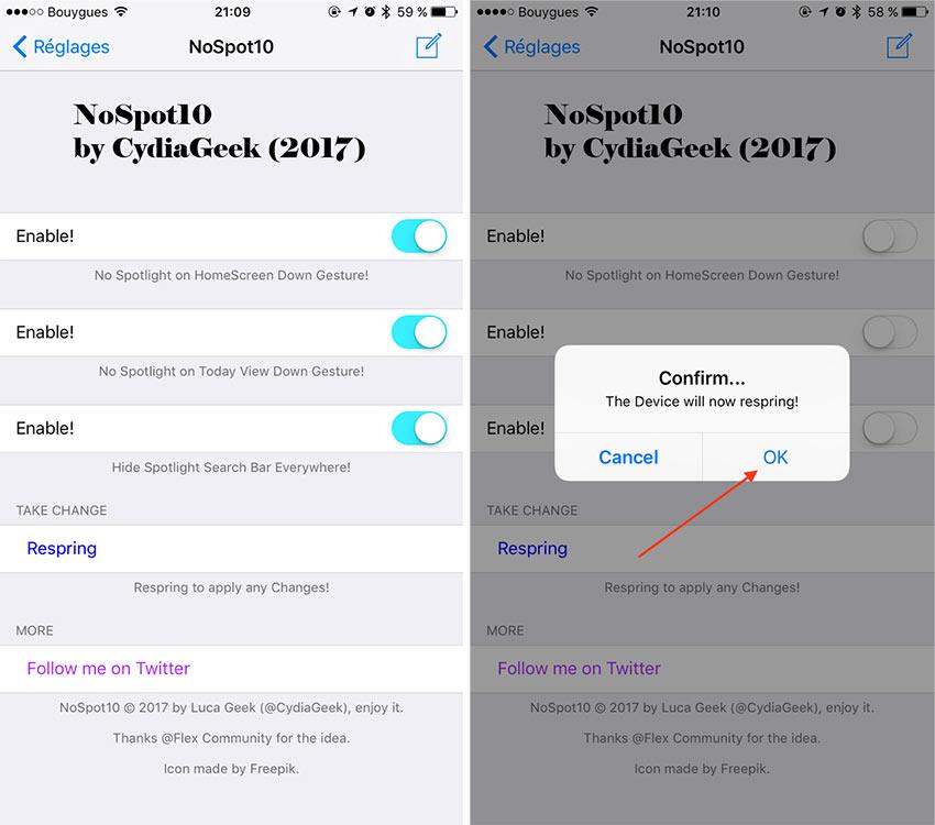 nospot10 Cydia : NoSpot10, désactiver le Spotlight sur votre iPhone