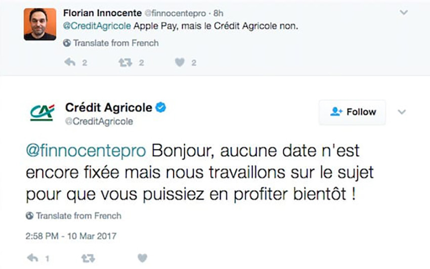 tweet credit agricole Apple Pay ne serait pris en charge par le Crédit Agricole quen avril