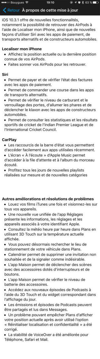 10.3.1 320x1149 iOS 10.3.1 déjà disponible pour iPhone, iPad et iPod touch