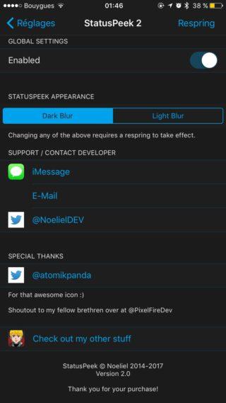IMG 0776 320x569 Cydia : StatusPeek 2, afficher la barre de statuts dans toutes vos applications