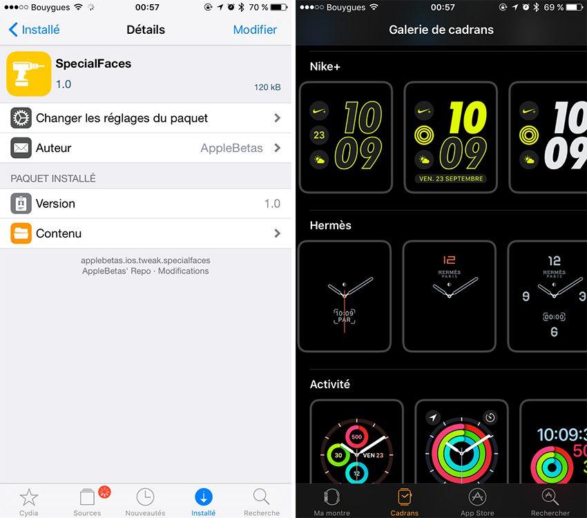SpecialFaces 2 Cydia : SpecialFaces, les cadrans Nike+ et Hermes sur votre Apple Watch