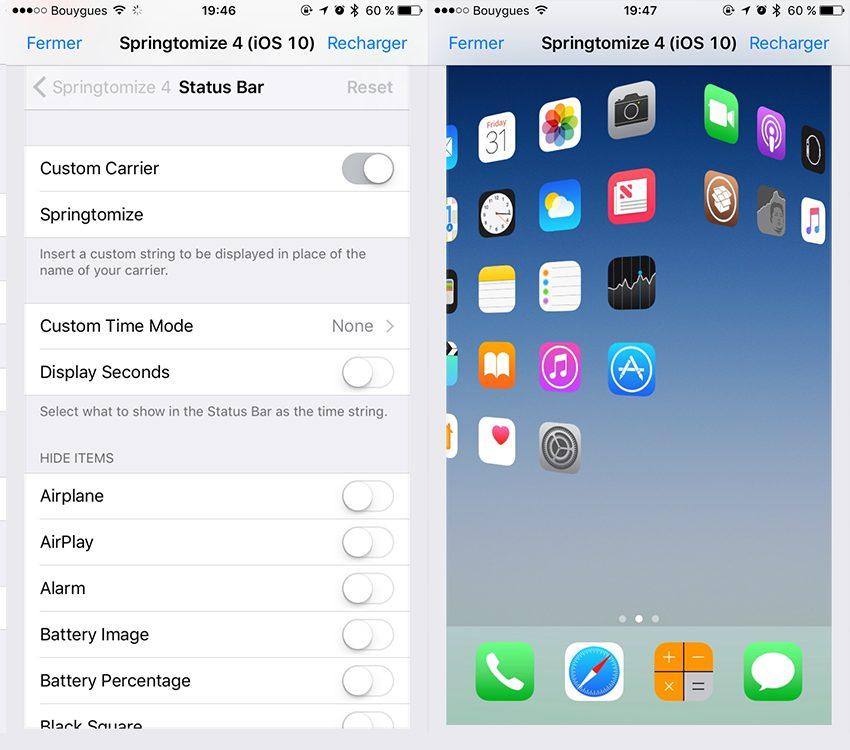 Sringtomize2 copie Cydia : Springtomize est enfin compatible avec iOS 10