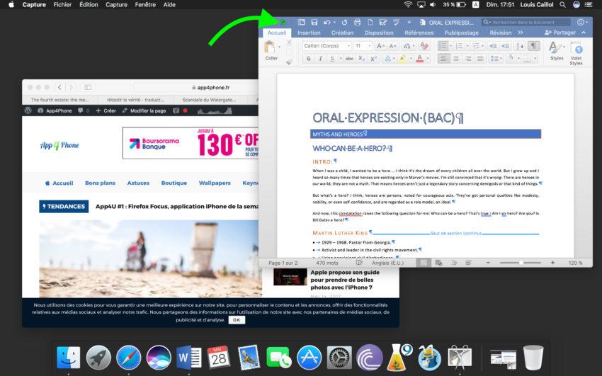 Tutoriel mac comment travailler avec 2 applications l for Mac fenetre hors ecran